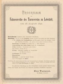 Programm zur Fahnenweihe des Turnvereins zu Lobstädt vom 28.08.1892