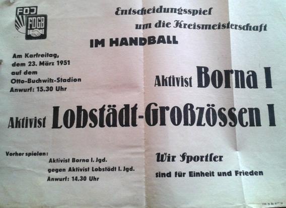 Plakat Handball vom 23.03.1951