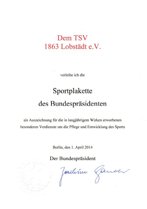 Urkunde Sportplakette des Bundespräsidenten vom April 2014
